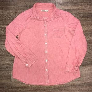 Women's Old Navy Red Chambray Button Down, Medium